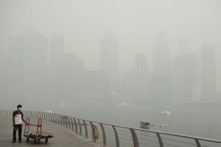 Pollution haze in Singapore. Copyright Associated Press.